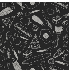 Hand drawn doodle food seamless patterns vector