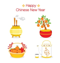 Chinese new year objects gifts vector