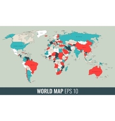 High detail geopolitical world map vector