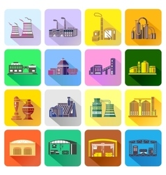 Factory icons set in flat style vector