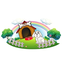 A dog in a dog house with fence vector image vector image