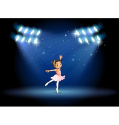 A little girl dancing ballet with spotlights vector image vector image