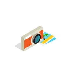 Camera and photos icon isometric 3d style vector