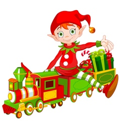 Christmas Elf and Toy Train vector image vector image