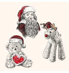 christmas set hand drawn llustration vector image vector image