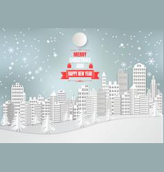 city for christmas season with snowflake and tree vector image