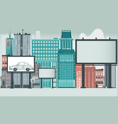 city scene with high rise buildings and billboards vector image