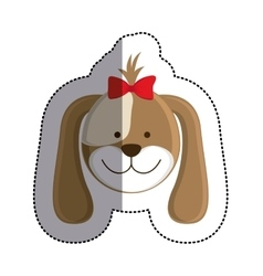 Color sticker with female dog head and middle vector