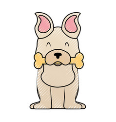 Cute dog mascot with bone vector