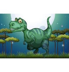 Dinosaur in the field at night vector