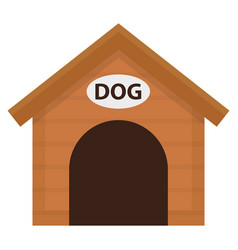 doghouse icon flat cartoon style wooden house vector image