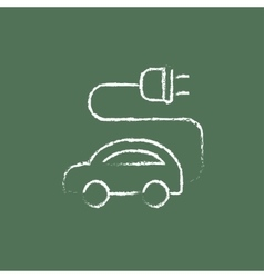 Electric car icon drawn in chalk vector