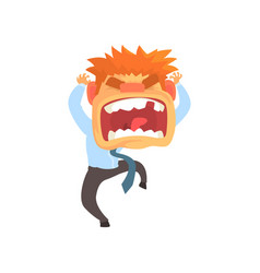 Furious young redhead man screaming despair vector