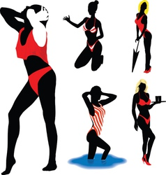 Girl silhouettes beach vector