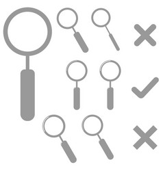 Grey lens and marks icons vector