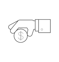 Hand giving penny line icon vector image vector image