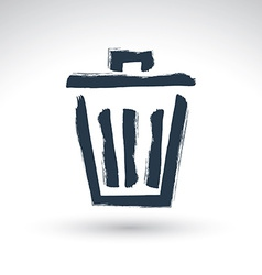 Hand-painted simple trash can icon isolated on vector image