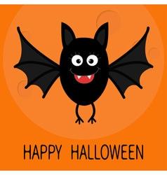 Happy halloween card cute cartoon bat flying big vector