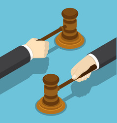isometric businessman hand with the judge gavel vector image