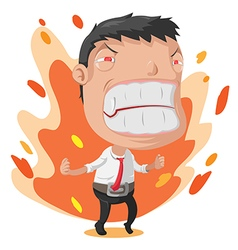 Man worker anger cartoon character vector