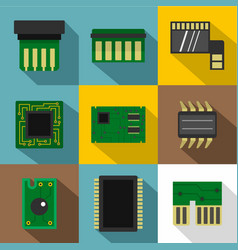 microchip icons set flat style vector image vector image