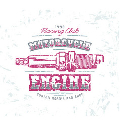 Motorcycle engine repair emblem vector