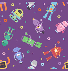 Robots and transformer androids cartoon toys vector