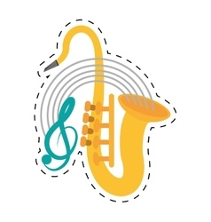 Saxophone musical instrument wind dotted line vector