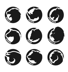 Set monochrome animal logos vector image