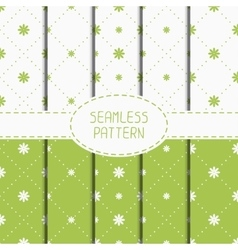 Set of green geometric floral seamless pattern vector image vector image