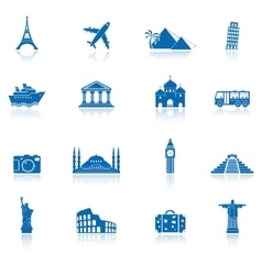 Sights and transportation icon set vector
