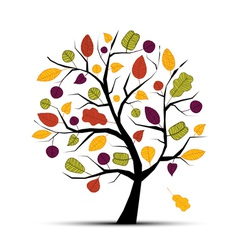 sketch tree leaf vector image