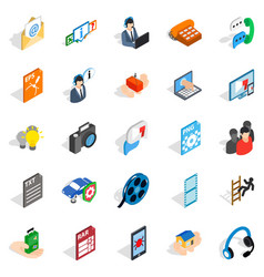Technical support icons set isometric style vector