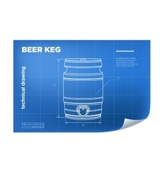 Technical wireframe with beer keg vector