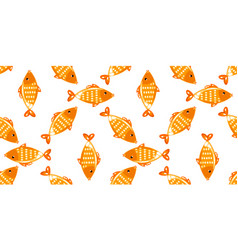 yellow fish seamless pattern vector image
