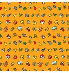 Autumn cute seamless pattern with season objects vector