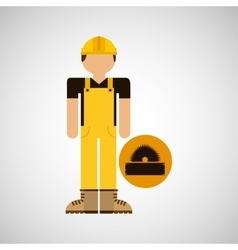 character construction man with sawmill vector image