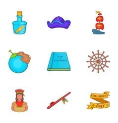Search of mainland icons set cartoon style vector