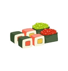 Set of rolls and sushi japanese cafe menu item vector