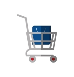 shopping cart online bag gift color shadow vector image
