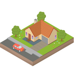Isometric house with backyard and car vector