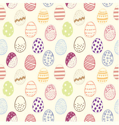 Seamless pattern with easter eggs color vector