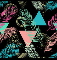 Abstract seamless pattern with palm leaf vector