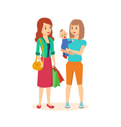 Two girls make a joint purchase in the mall vector