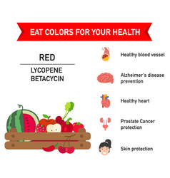 Eat colors for your health red food vector