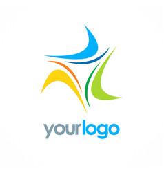 Circle loop colored logo vector