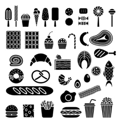 Silhouette of sweets and fast food vector