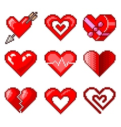 Pixel hearts for games icons set vector