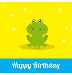 Happy birthday card with cute frog baby vector