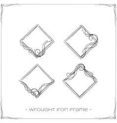 Wrought iron frame four vector